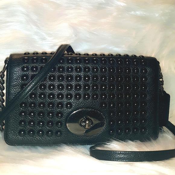 EUC Limited Edition COACH Stud Leather Foldover CB